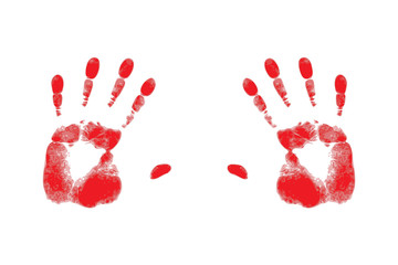 red silhouette of handprints