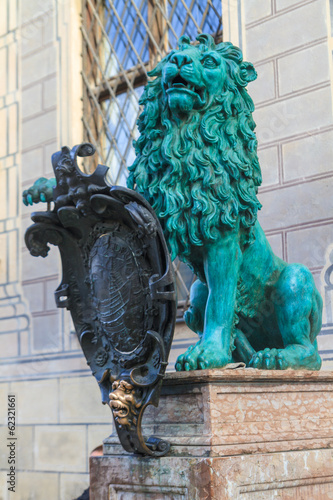 Bavarian Lion Statue in front of Munich Residenz, Bavaria, Germa