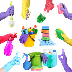 Collage of cleaning equipment  in hands isolated on white