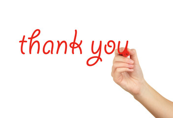 Thank you hand writing on transparent board