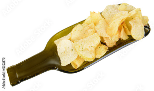 Chips on plate isolated on white