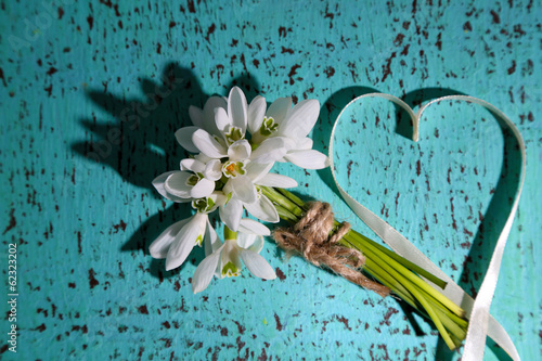 Bouquet of beautiful snowdrops on blue wooden background