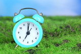 Blue alarm clock on grass on natural background