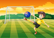 A boy kicking the ball with the flag of Australia