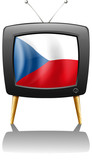 The flag of Czech Republic inside the television