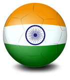 A soccer ball with the flag of India