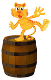 A tiger above the wooden barrel