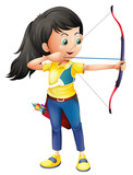 A young girl playing archery