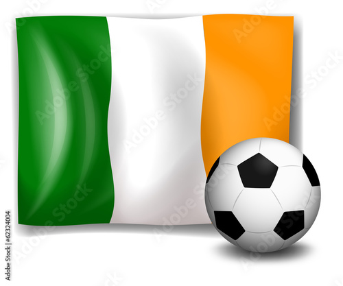 A soccer ball in front of the Ireland flag
