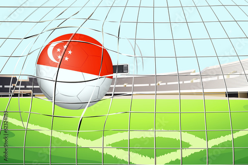A soccer ball with the flag of Singapore hitting a goal