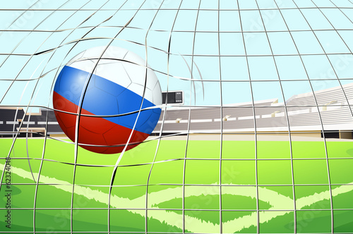 A soccer ball with the flag of Russia hitting a goal