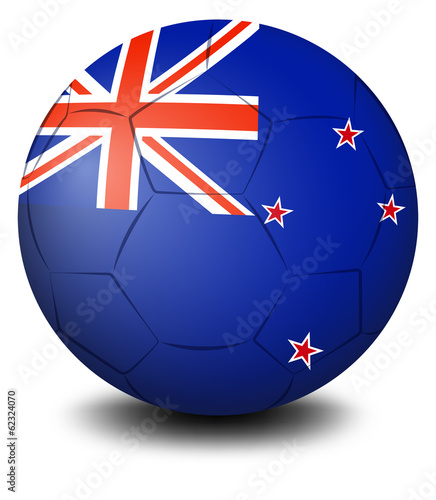 A soccer ball with the flag of New Zealand