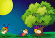 Three kids playing near the tree under the fullmoon