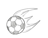 sketch of the flying football ball with flames