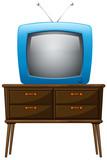 A television above the wooden table