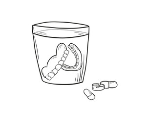 sketch of the denture in glass and pills