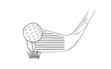 sketch of the golf ball and golf club