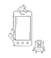 sketch of the smartphone and viruses