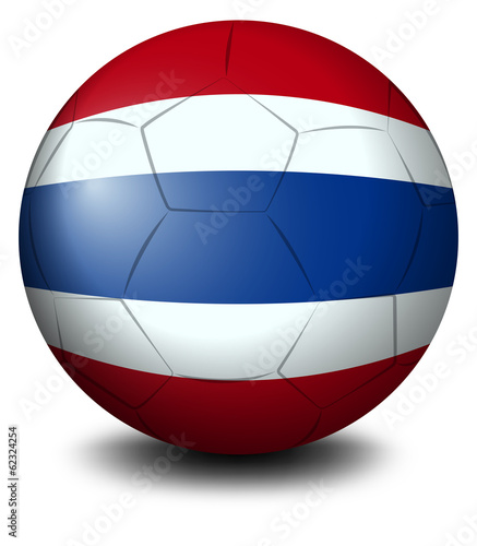 A soccer ball with the flag of Thailand