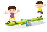 Kids playing with the seesaw