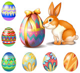 Seven Easter eggs and a bunny