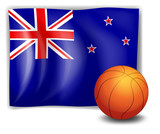 A ball in front of the flag of New Zealand