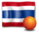 A ball in front of the flag of Thailand