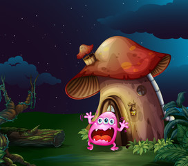 A scared monster near the mushroom house