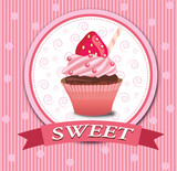 Strawberry cupcake pink frame