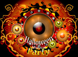 Halloween musical party vector background