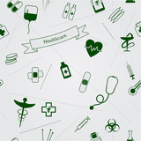 Medical icons seamless vector background