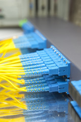 Technology center with fiber optic equipment