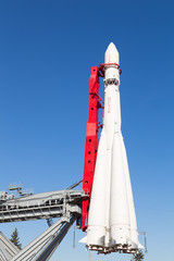 rocket Vostok against the blue sky