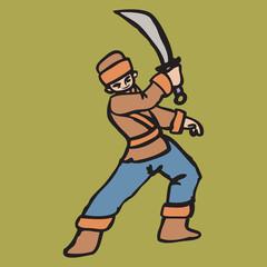 Chinese boy holding sword