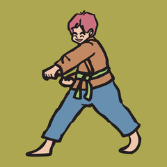 Martial art boy punching