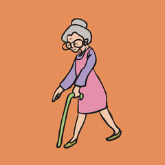 Old smiley woman with cane