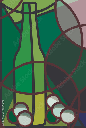 Stylised illustration of a bottle of white wine and grapes