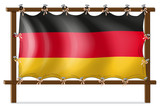 A wooden frame with a German flag