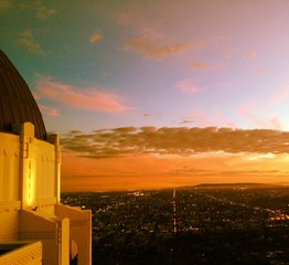colorful sunset over LA