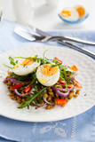 Salad with lentil and eggs