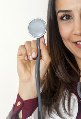 Portrait of beautiful doctor with a stethoscope