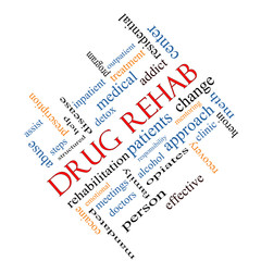 Drug Rehab Word Cloud Concept Angled