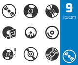 Vector black CD disk icons set