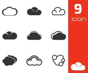 Vector black cloud icons set