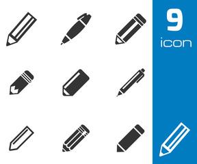 Vector black pencil icons set