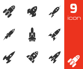 Vector black rocket icons set