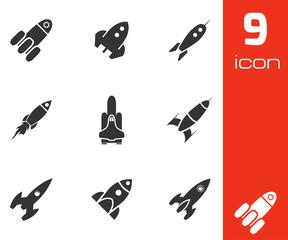 Vector black rocket icons set