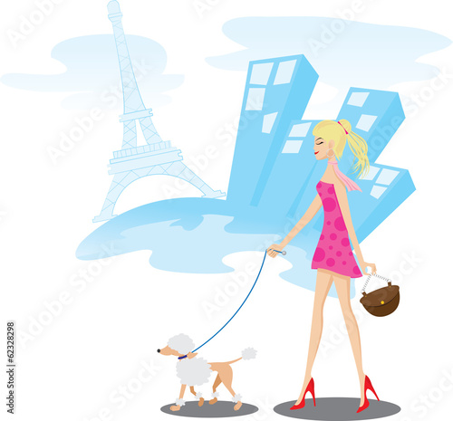 Girl walking in Paris with poodle dog