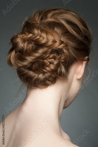 Woman with braid hairdo Poster