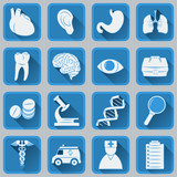 A set of flat square icons on medical subjects.